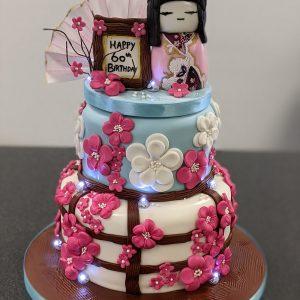 Geisha girl themed birthday cake